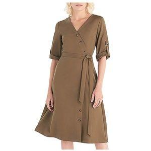 Long Sleeve Knee-Length Wrap Dress